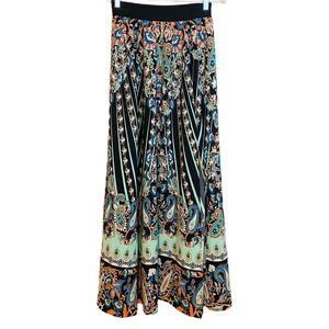 New York & Company Green Floral Maxi Skirt